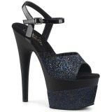 Svart 18 cm ADORE-709-2G glittriga klackar platå sandaler skor