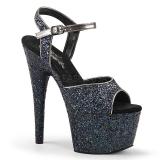 Svart 18 cm ADORE-710LG glitter platå klackar skor