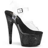 Svart 18 cm BEJEWELED-708DM platå klackar skor med strass stenar