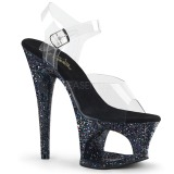 Svart 18 cm MOON-708LG glitter platå klackar skor