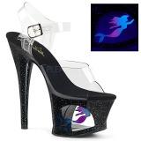 Svart 18 cm MOON-708MER Neon platå klackar skor