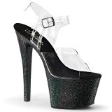 Svart 18 cm Pleaser SKY-308MG glitter platå klackar skor