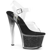 Svart 18 cm SKY-308G-T glittriga platå sandaler skor