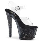 Svart 18 cm SKY-308LG glitter platå klackar skor