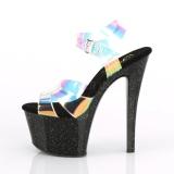 Svart 18 cm SKY-320MMR glitter platå klackar skor
