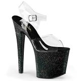 Svart 19 cm TABOO-708MG glitter platå klackar skor