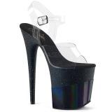 Svart 20 cm FLAMINGO-808-2HGM glitter platå high heels