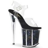 Svart 20 cm FLAMINGO-808GF glitter platå klackar skor