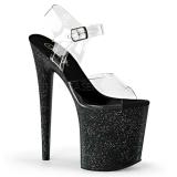 Svart 20 cm FLAMINGO-808MG glitter platå klackar skor