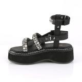 Svart 5 cm Demonia EMILY-120 gladiator sandaler med platå