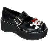 Svart 5 cm EMILY-221 lolita skor goth dam platåskor med tjock sula