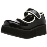 Svart 6 cm SPRITE-01 lolita skor goth platåskor med tjock sula