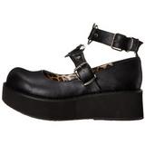 Svart 6 cm SPRITE-02 lolita skor goth platåskor med tjock sula