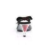 Svart 7,5 cm BELLE-301BOW Pinup mules skor med fluga