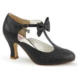 Svart 7,5 cm FLAPPER-11 Pinup pumps skor med låg klack