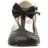 Svart 7,5 cm retro vintage FLAPPER-11 Pinup pumps skor med låg klack