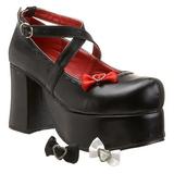 Svart 9,5 cm ABBEY-03 lolita skor goth plat�skor med tjock sula