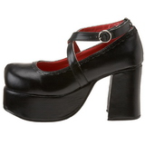 Svart 9,5 cm ABBEY-03 lolita skor goth platåskor med tjock sula