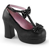 Svart 9,5 cm GOTHIKA-04 lolita skor goth punk platåskor med tjock sula
