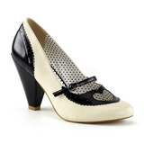 Svart 9,5 cm retro vintage POPPY-18 Pinup pumps skor med låg klack