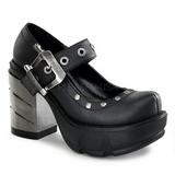 Svart 9 cm SINISTER-59 lolita skor goth dam platåskor med tjock sula