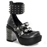 Svart 9 cm SINISTER-62 lolita skor goth dam platåskor med tjock sula