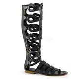 Svart ATHENA-200 knähöga gladiator sandaler för damer