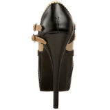 Svart Beige 14,5 cm Burlesque TEEZE-24 damskor med hög klack