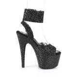 Svart Glittra 18 cm ADORE-791LG högklackade skor med ankelband