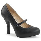 Svart Konstläder 11,5 cm PINUP-01 stora storlekar pumps skor