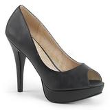 Svart Konstläder 13,5 cm CHLOE-01 stora storlekar pumps skor