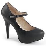 Svart Konstläder 13,5 cm CHLOE-02 stora storlekar pumps skor