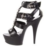 Svart Konstläder 15 cm DELIGHT-658 pleaser skor med höga klackar