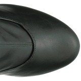 Svart Konstläder 15 cm KISS-3000 Lårhöga stövlar med hög klack