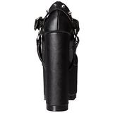 Svart Konstläder 16 cm CRAMPS-02 Goth Pumps Skor Dam