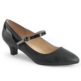 Svart Konstläder 5 cm FAB-425 stora storlekar pumps skor