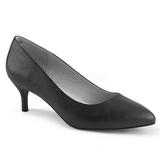 Svart Konstläder 6,5 cm KITTEN-01 stora storlekar pumps skor