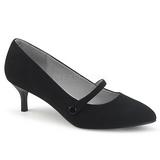 Svart Konstläder 6,5 cm KITTEN-03 stora storlekar pumps skor