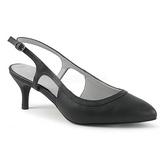 Svart Konstläder 6 cm KITTEN-02 stora storlekar pumps skor