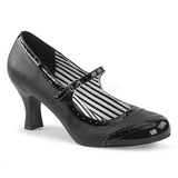 Svart Konstläder 7,5 cm JENNA-06 stora storlekar pumps skor
