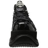 Svart Konstläder 7,5 cm NEPTUNE-100 Platå Goth Skor för Män