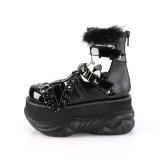 Svart Konstläder 7,5 cm NEPTUNE-150 Platå Goth Skor för Män