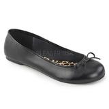 Svart Konstläder ANNA-01 stora storlekar ballerina skor
