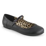 Svart Konstläder ANNA-02 stora storlekar ballerina skor