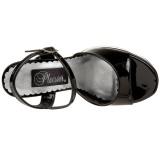 Svart Lack 13 cm DEMONIA DOLLY-09 Platå sandaler med blockklack