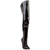Svart Lack 15,5 cm SCREAM-3010 Overknee Stövlar med Klackar