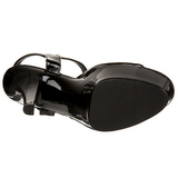 Svart Lack 15 cm JULIET-209 Högklackat sandaletter platå