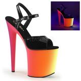 Svart Lack 20 cm RAINBOW-809UV Högklackade Sandaler Neon Platå