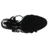 Svart Lackerade 12 cm FLAIR-420 Höga Klackar Skor för Män