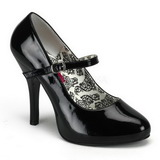 Svart Lackerade 12 cm rockabilly TEMPT-35 kvinnor pumps med låg klack